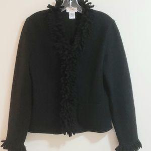 Talbots Boiled Wool Fringed Jacket, Black, Sz S